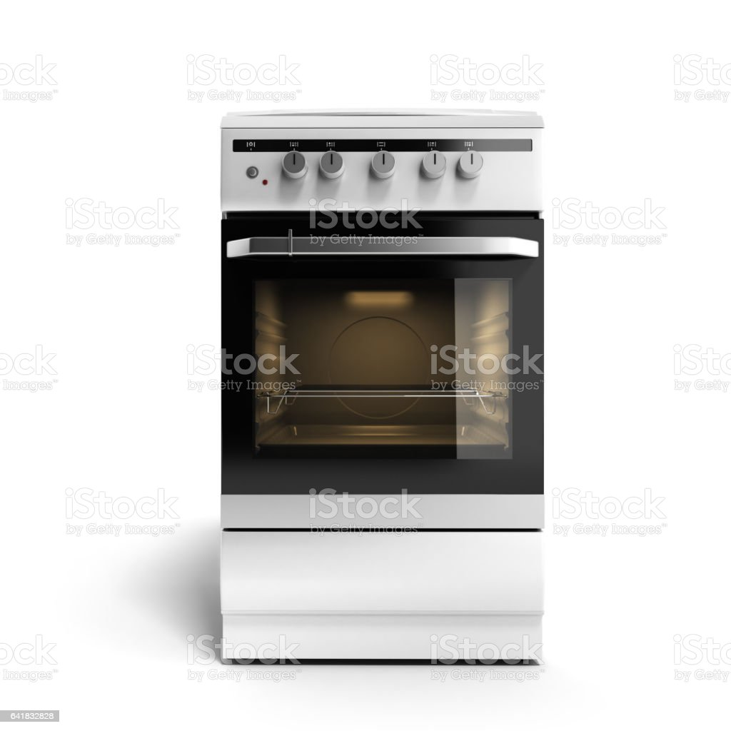 Gas stove 3d render isolated on a white background stock photo