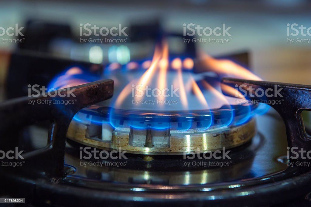 Gas stove burner. stock photo