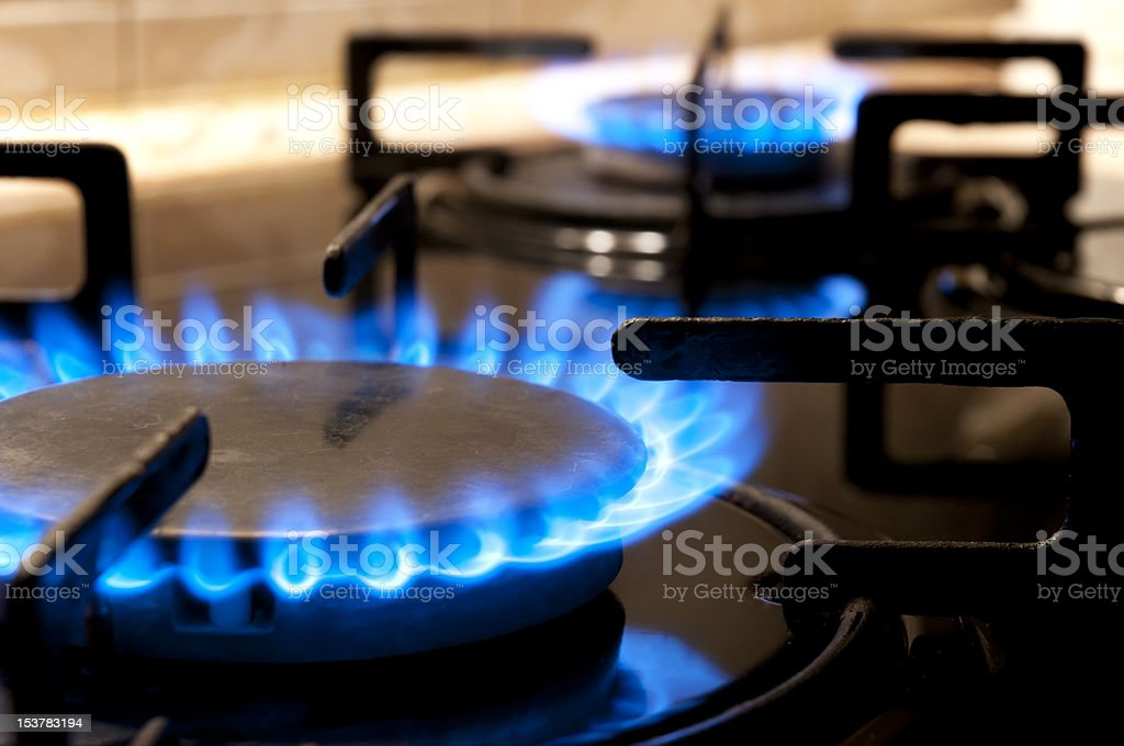 Gas stove. Closeup stock photo