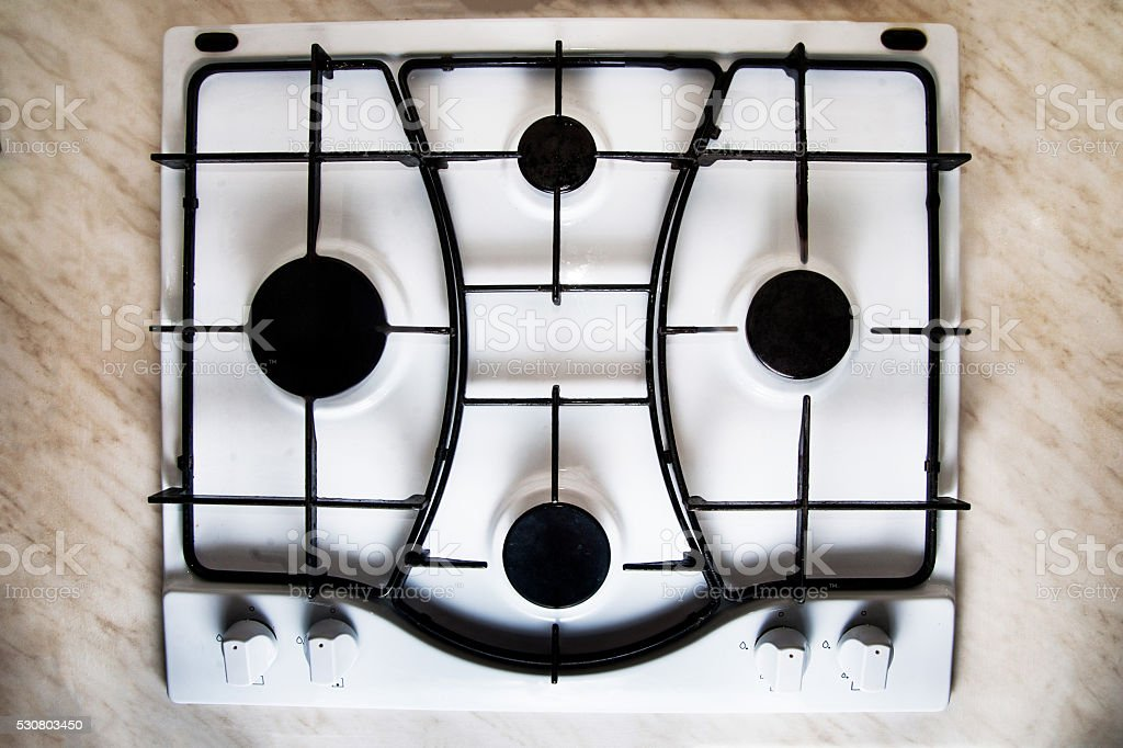 Gas stove, top view stock photo