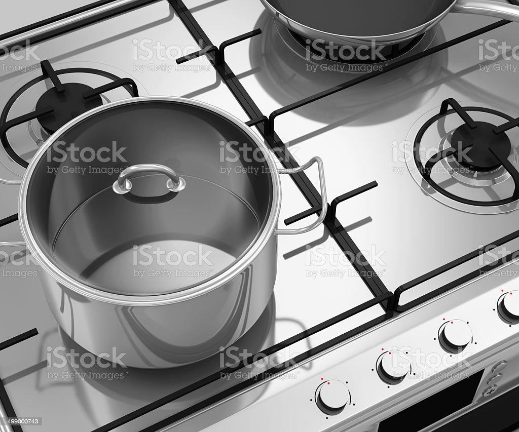 Batterie De Cuisine Gaz photo libre de droit de gaz cuisinière avec batterie de