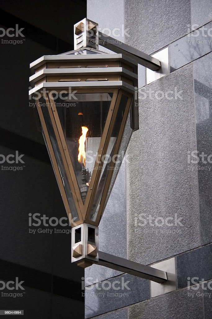 Gas Street Lantern Light attached to Exterior of Building stock photo