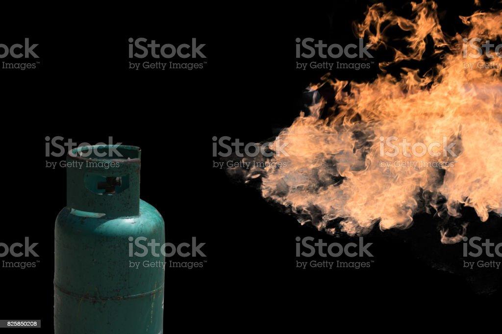 Gas tank burns on fire stock photo