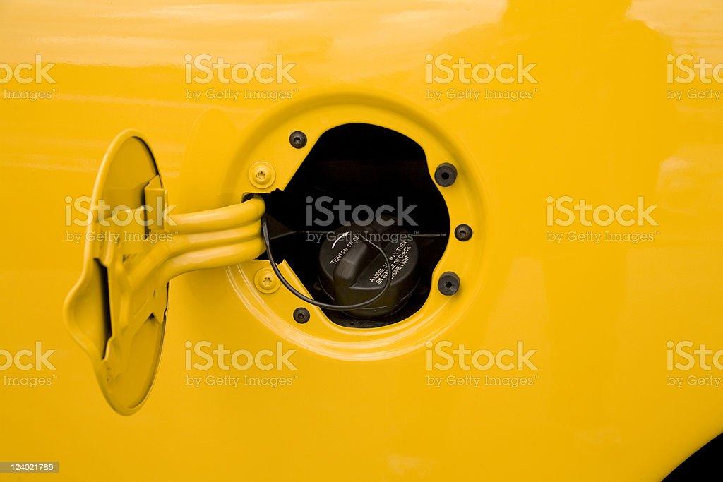 Gas tank cap and door royalty-free stock photo