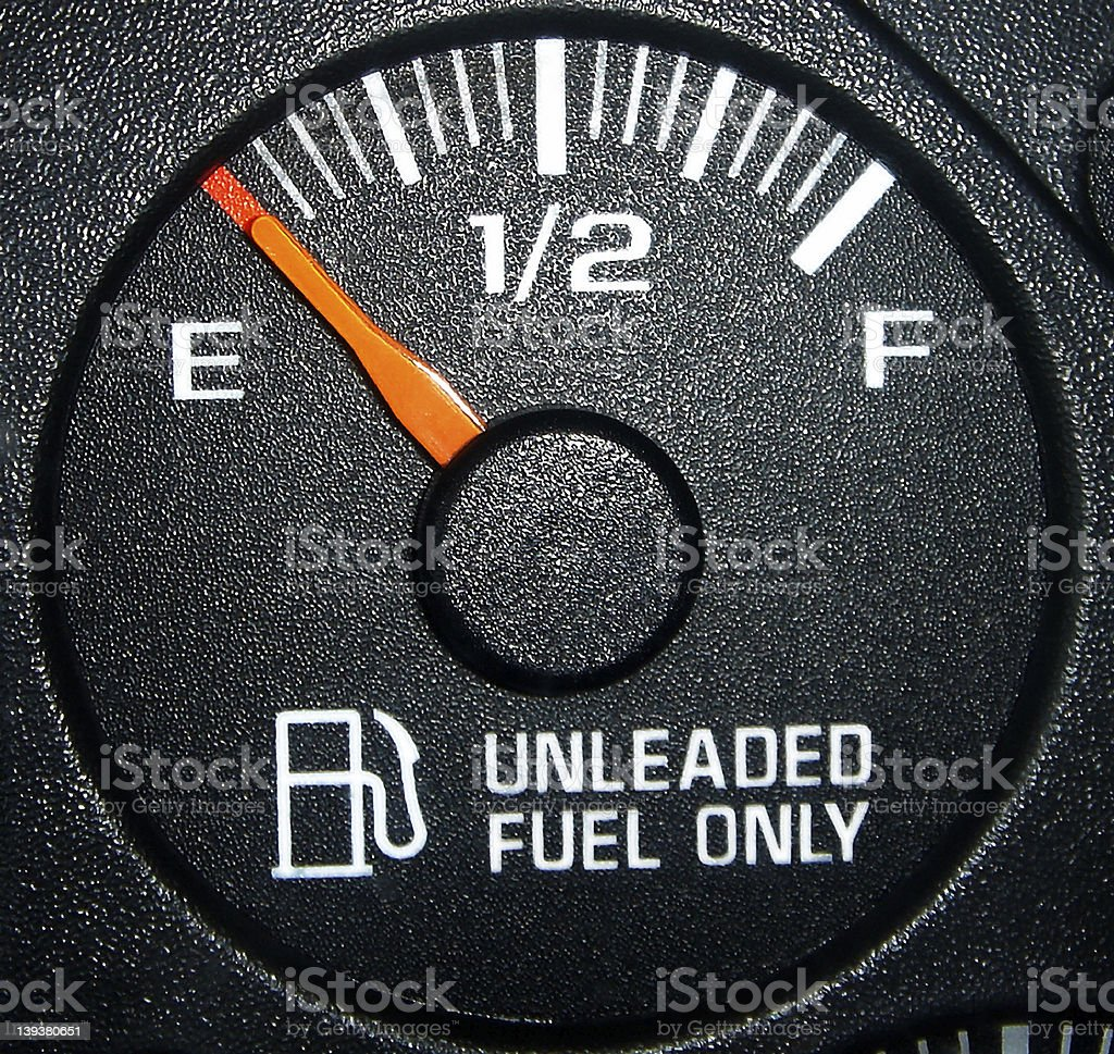 A gas tank fuel gage indicating the tank is empty stock photo