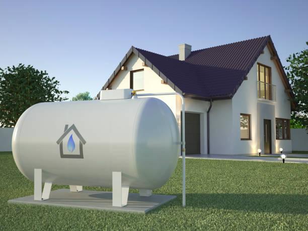 gastank in de buurt van huis, 3d illustratie - brandstoftank stockfoto's en -beelden