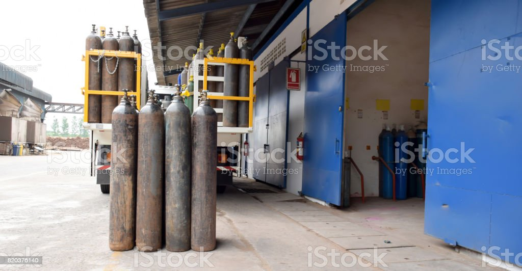 Gas tank, Oxygen tank,Nitrogen tank ,Nitro tank storage for Welding steel work stock photo