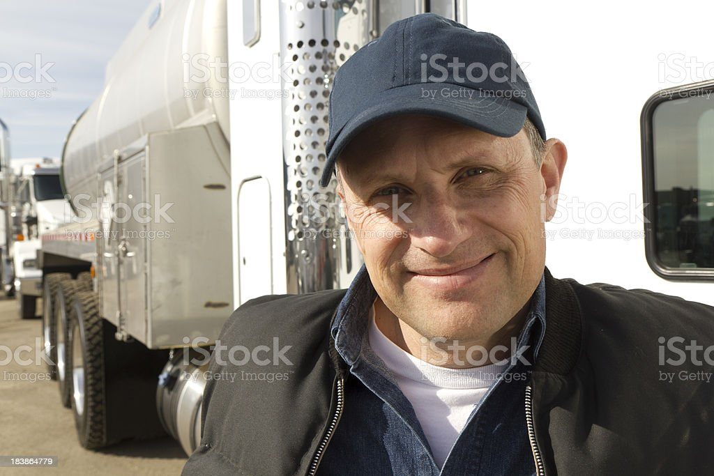 Gas Tanker and Driver royalty-free stock photo