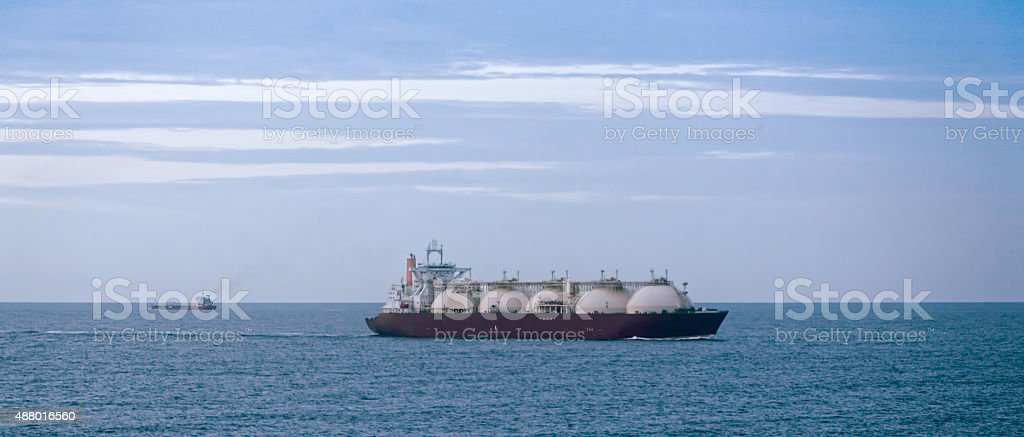 Gas tanker at dusk stock photo