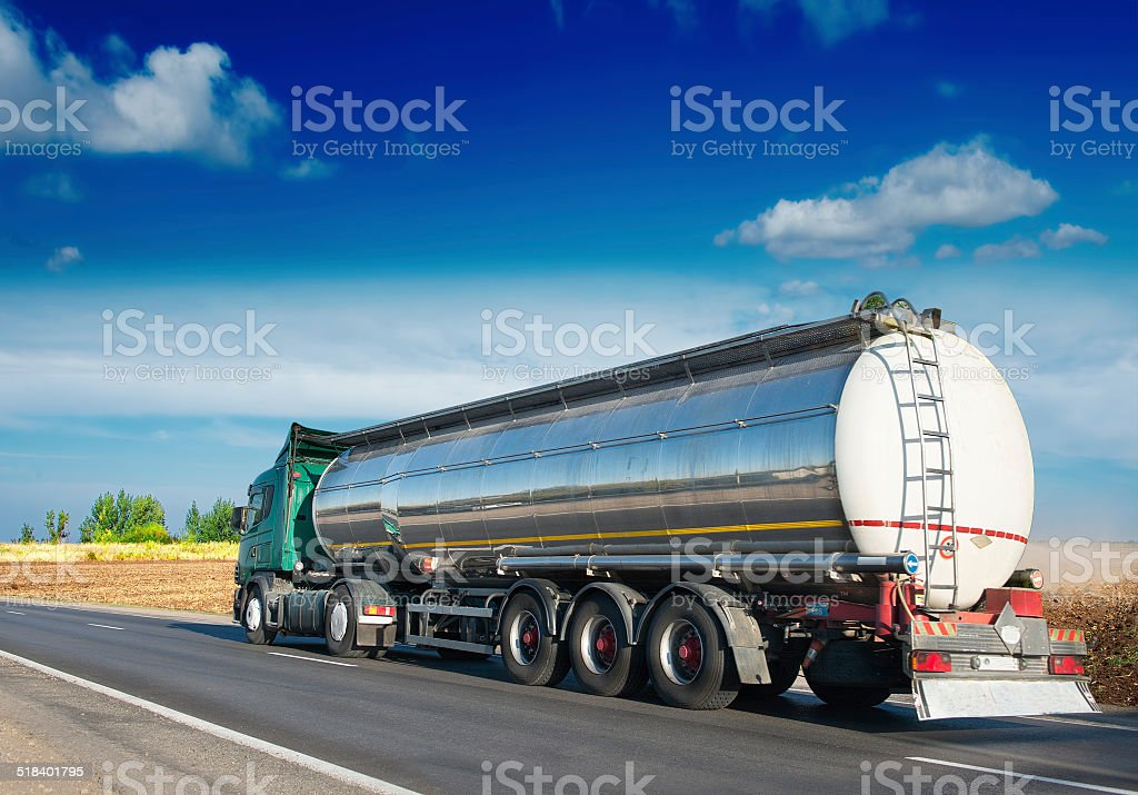 Gas tanker on the road stock photo