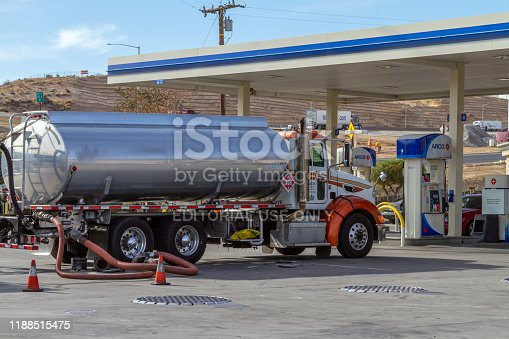 Victorville, CA / USA – November 13, 2019: A gas tanker trunk servicing the Arco gas station  on D Street in Victorville, California.