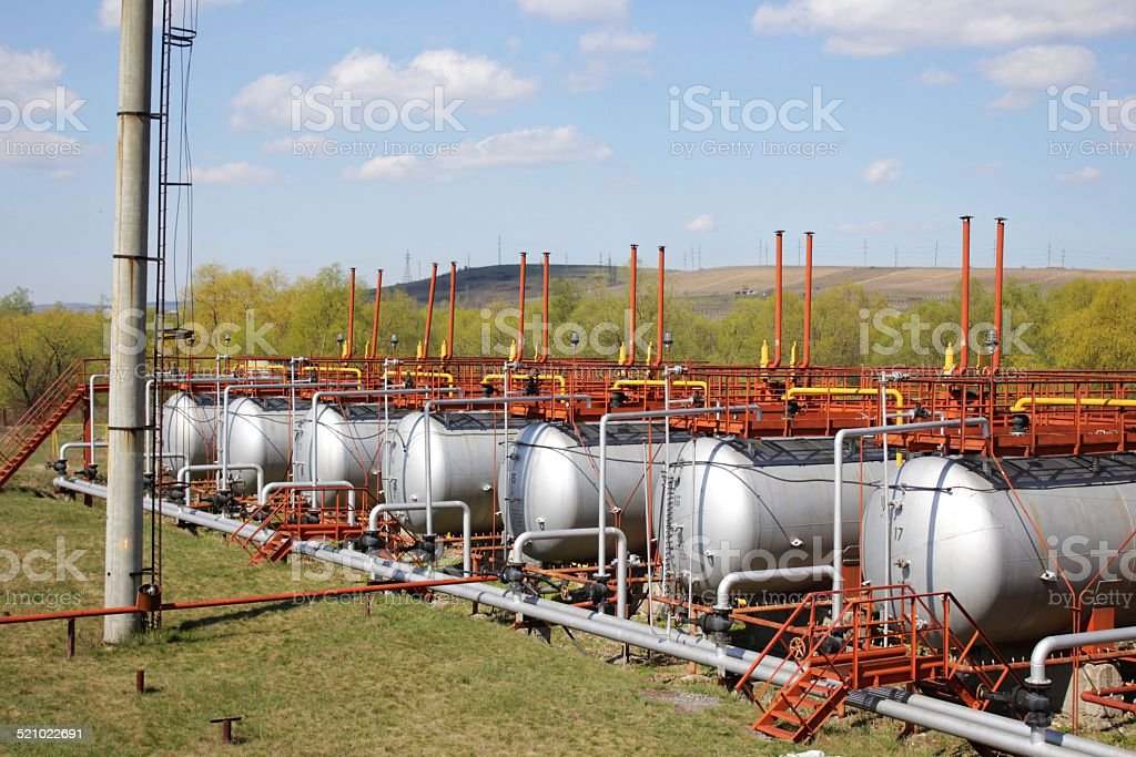 Gas tanks in a row stock photo