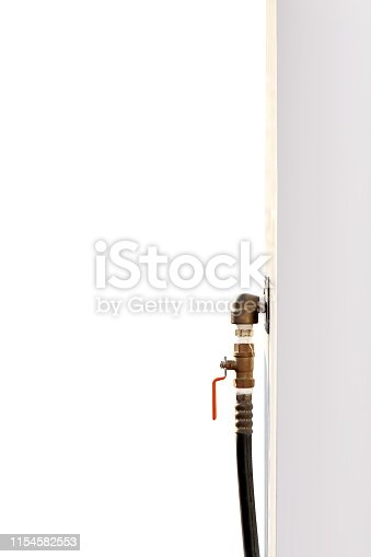 istock Gas tap handle, Tab for closed-open gas or oil pipe industry, Tap tube of liquid water 1154582553
