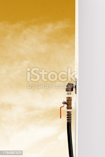 istock Gas tap handle, Tab for closed-open gas or oil pipe industry, Tap tube of liquid water 1154587520
