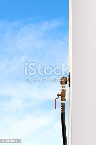 istock Gas tap handle, Tab for closed-open gas or oil pipe industry, Tap tube of liquid water 1154588967