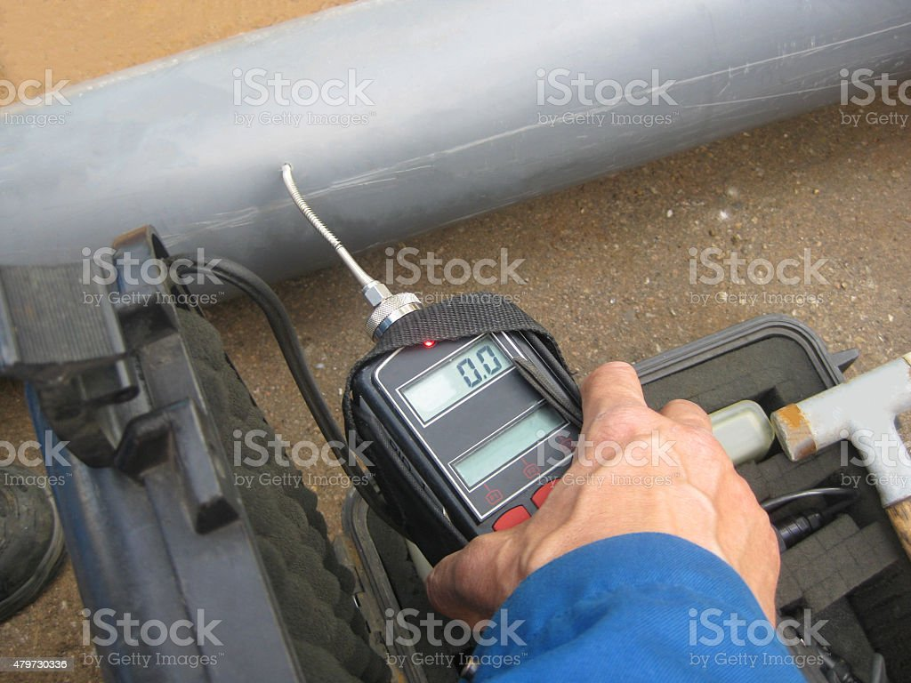 Gas testing of condensate oxygen at pipe line stock photo