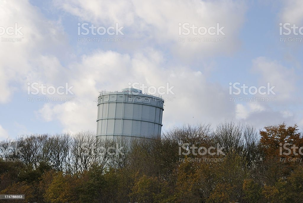 Gas tower falling down due to explosion royalty-free stock photo