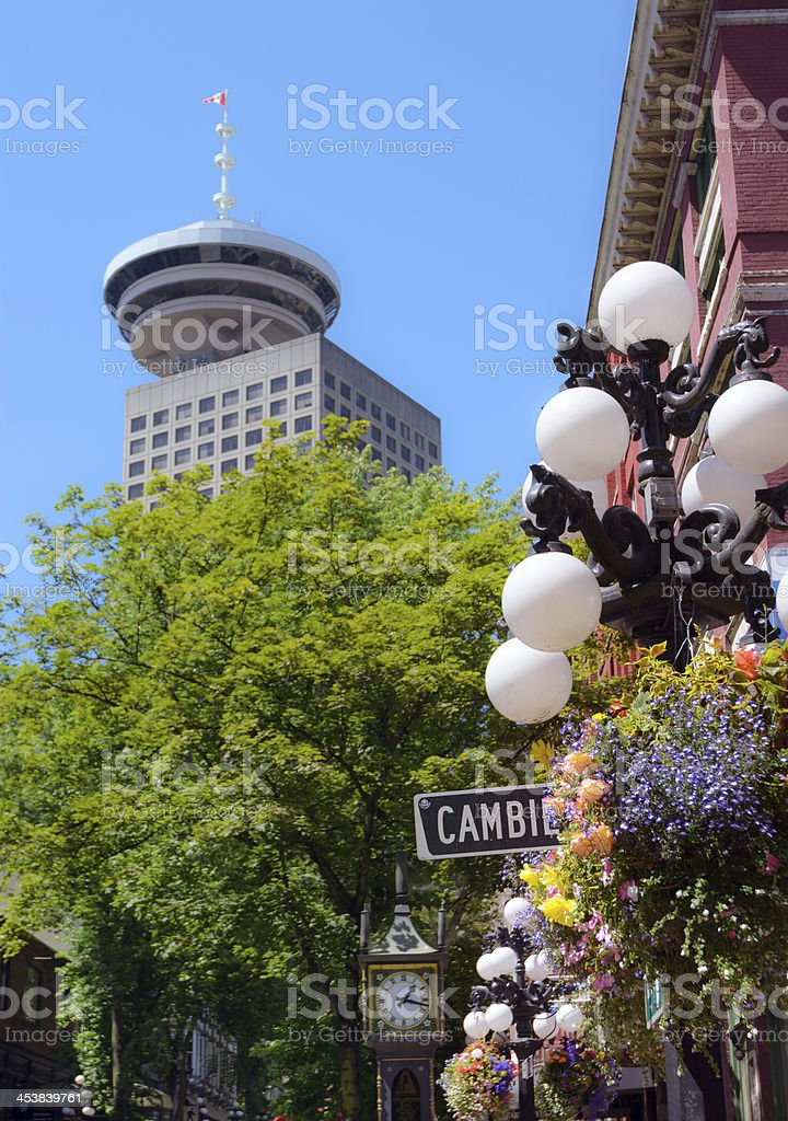 Gas town and Harbour Center in Vancouver, British Columbia stock photo