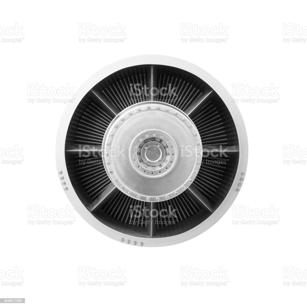 Gas turbine aircraft engine front view isolated on white background stock photo