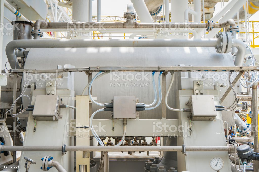 Gas turbine compressor, centrifugal and multi stage type of gas compressor and piping, instrument tubing used in oil and gas industry. stock photo