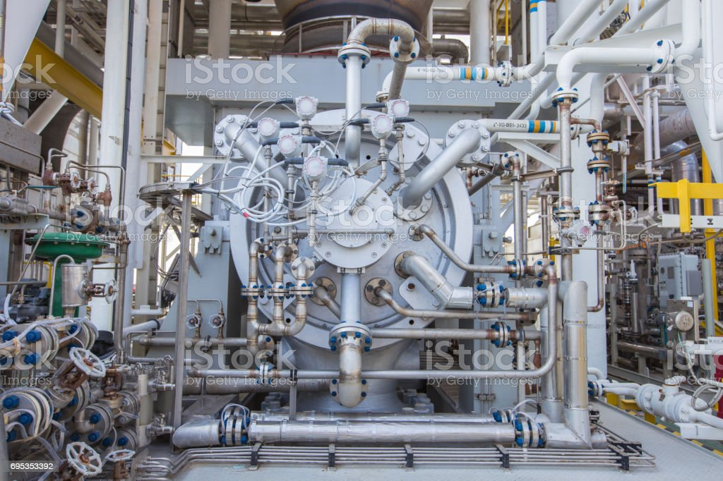 Gas turbine compressor,Radial type of gas compressor and piping, instrument tubing used in oil and gas industry. stock photo
