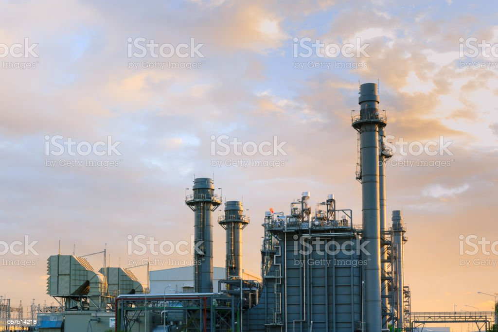 Gas turbine electric power plant with nightlight stock photo