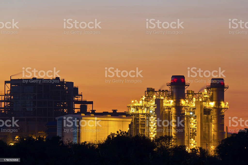 Gas turbine electrical power plant at dusk royalty-free stock photo