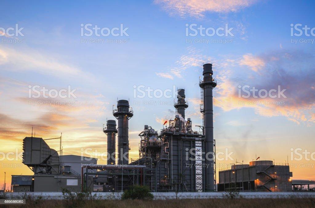 Gas turbine electrical power plant with twilight. stock photo