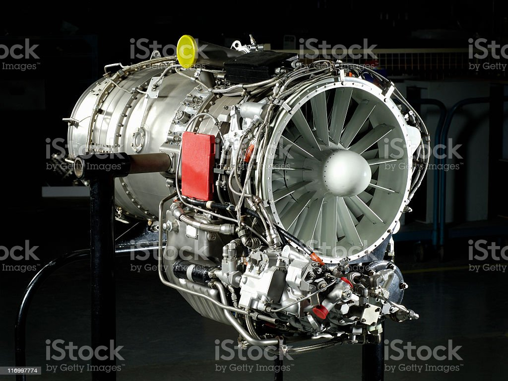 Gas turbine engine on stand stock photo