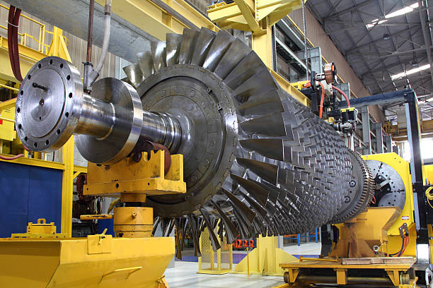 Gas turbine rotor at workshop stock photo