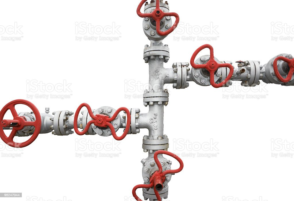 Gas valves and Pipesisolated on white background royalty-free stock photo