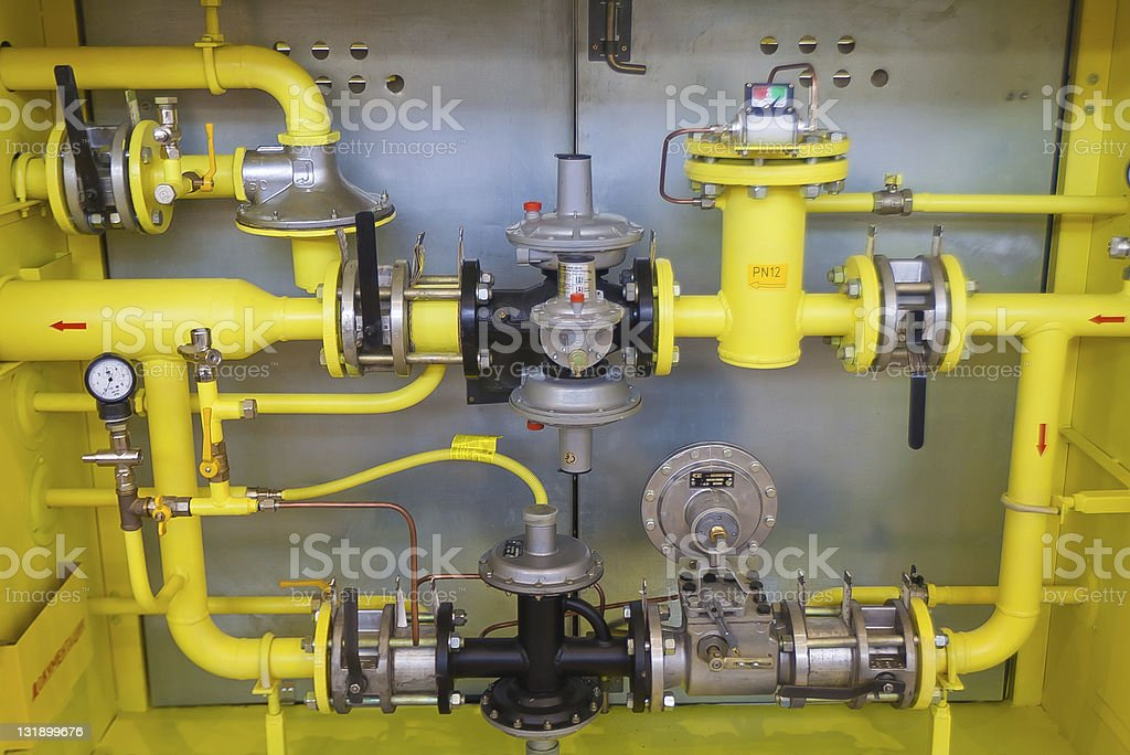 Gas valves, pipes and pumps stock photo