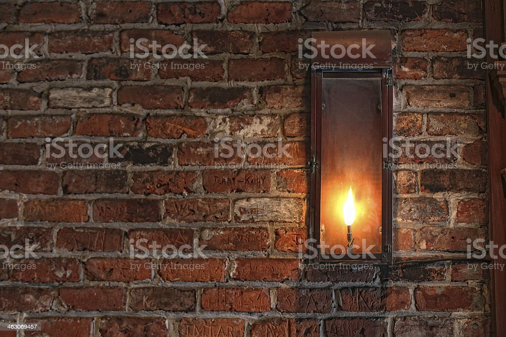 gas wall lamp stock photo
