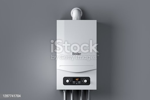 Gas water boiler on wall. 3d render
