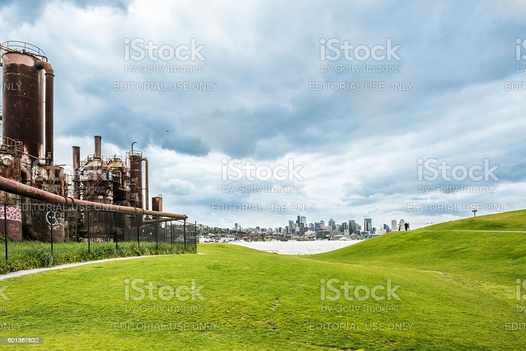 Gas Works Park and skyline or cityscape with Space Needle stock photo