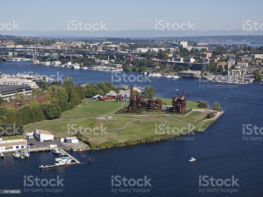 Gas Works Park Seattle Washington Lake Union Aerial Photo stock photo