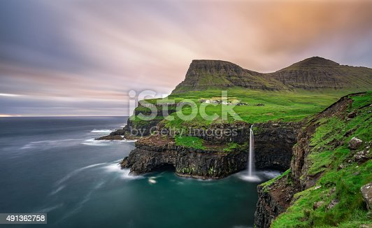 istock Gasadalur village and its waterfall, Faroe Islands, Denmark 491362758