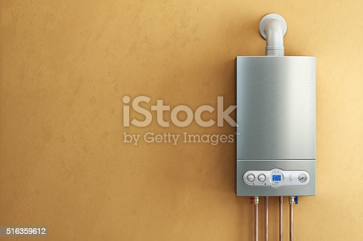 istock Gas-fired boiler on yellow background. Home heating. 516359612