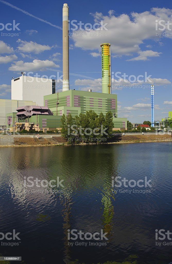 Gas-fired power plant stock photo