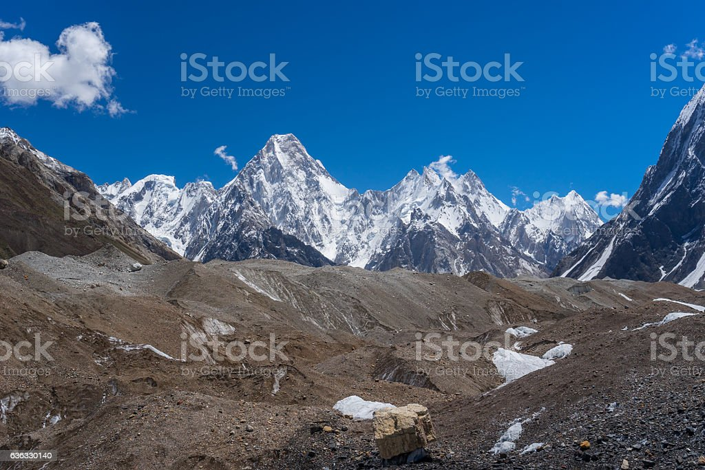 Gasherbrum massif mountain behind Baltoro glacier, K2 trek, Pakistan stock photo
