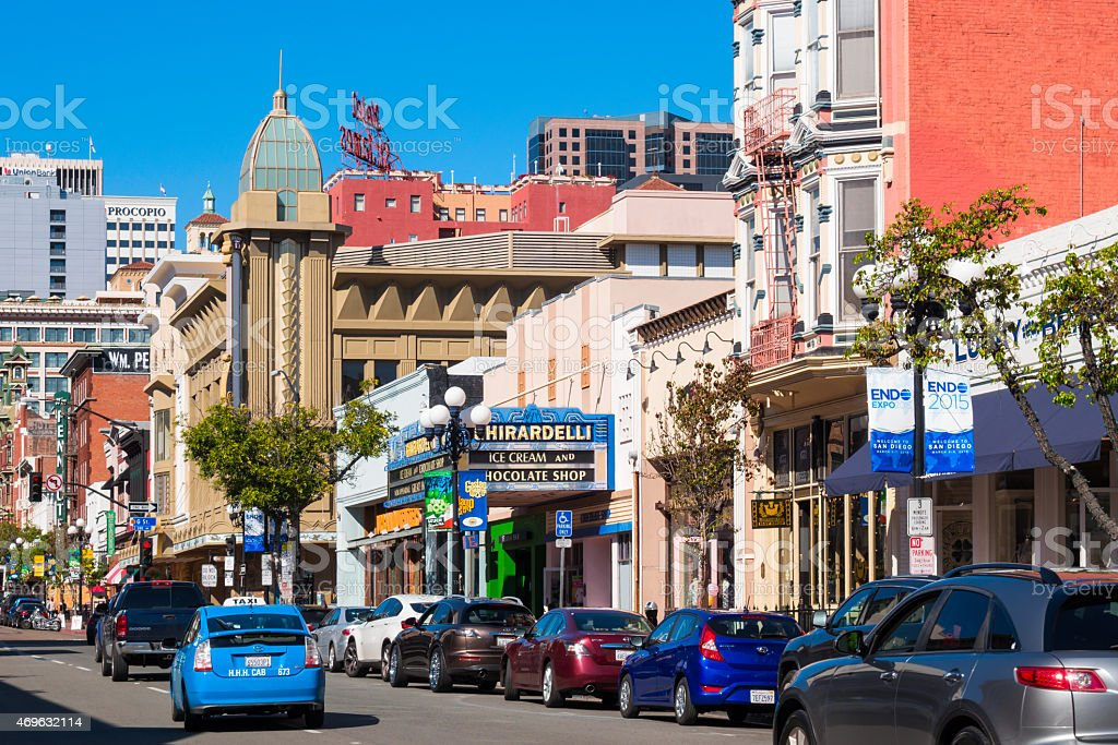 Gaslamp Quarter 5th Avenue Downtown San Diego California USA stock photo