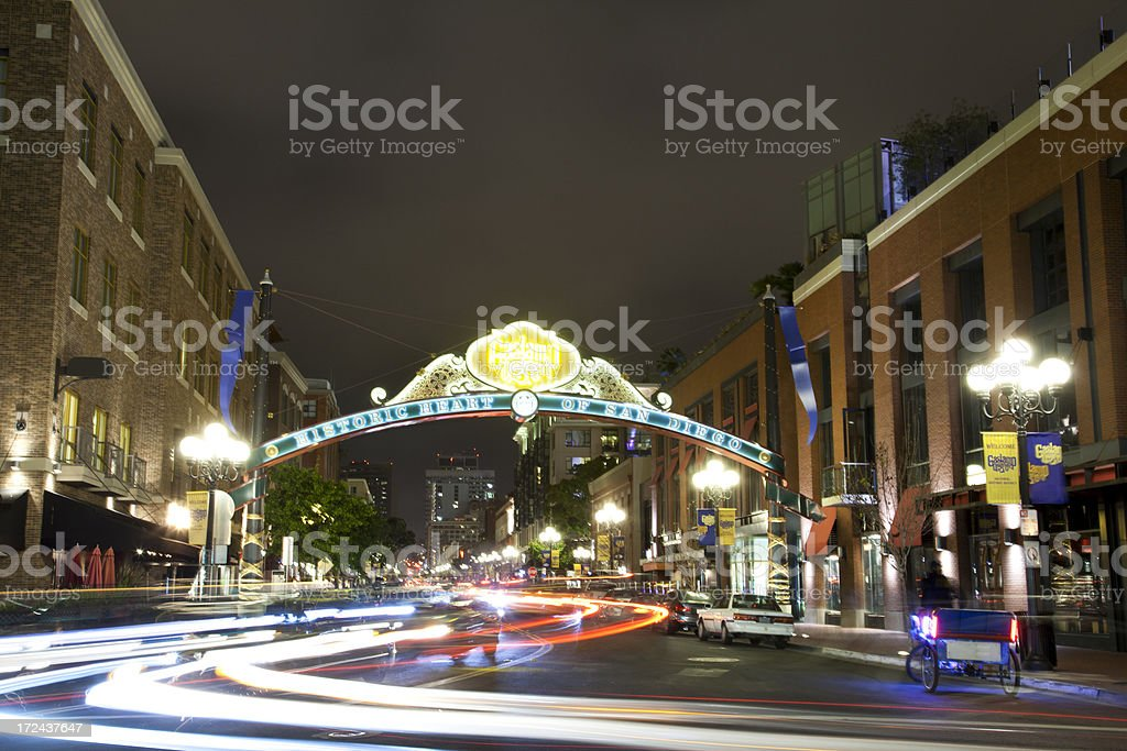 Gaslamp Quarter in San Diego royalty-free stock photo