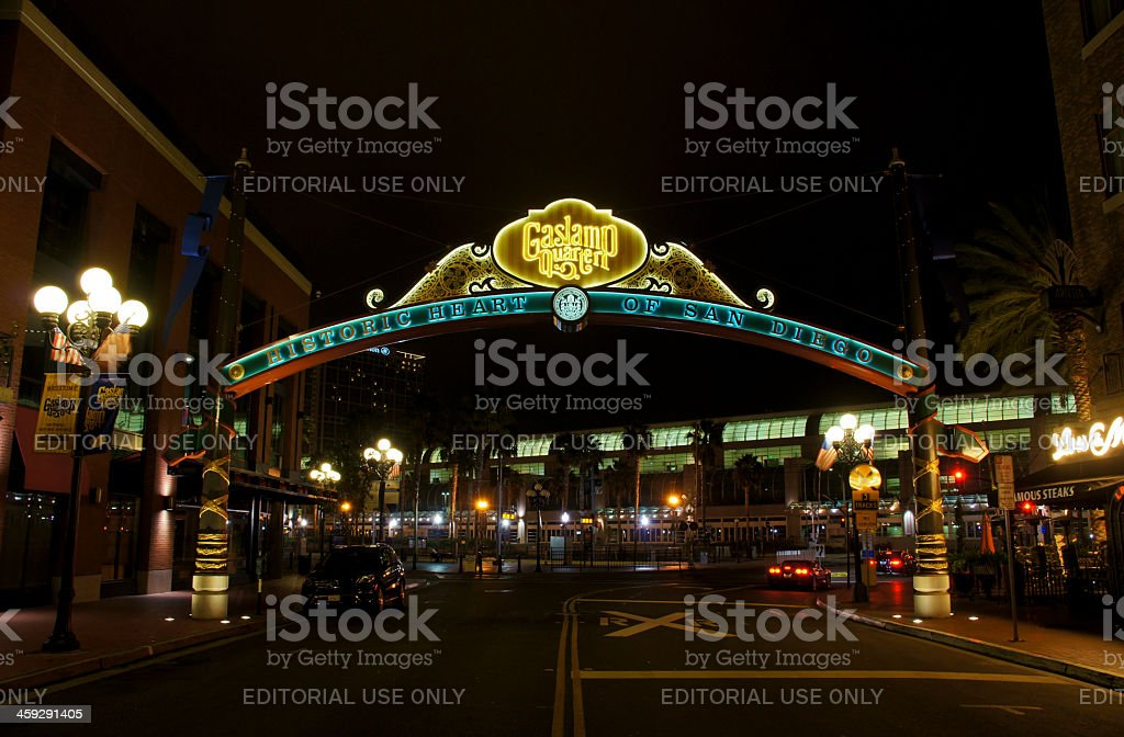 Gaslamp Quarter Sign in San Diego stock photo