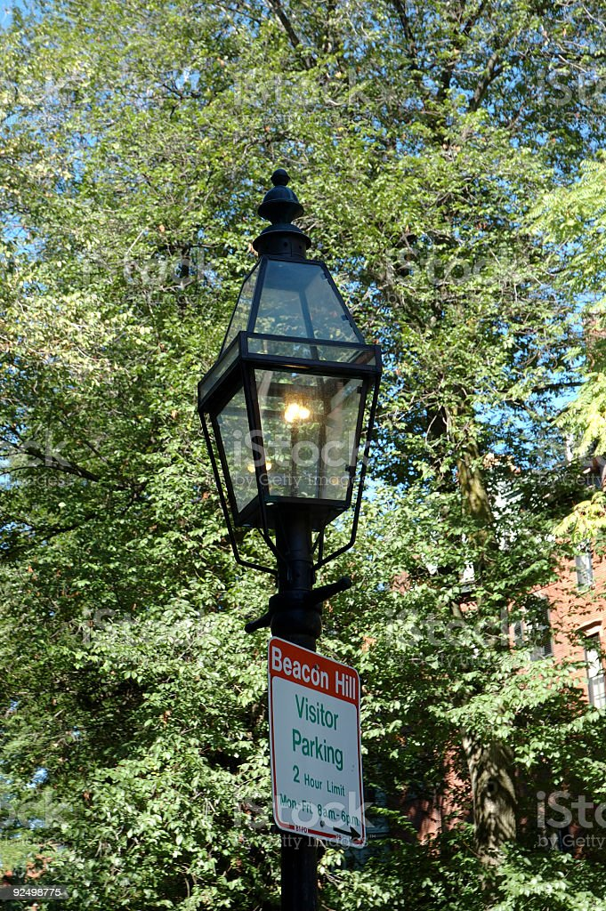 Gas-lit Lamppost 2 and sign royalty-free stock photo