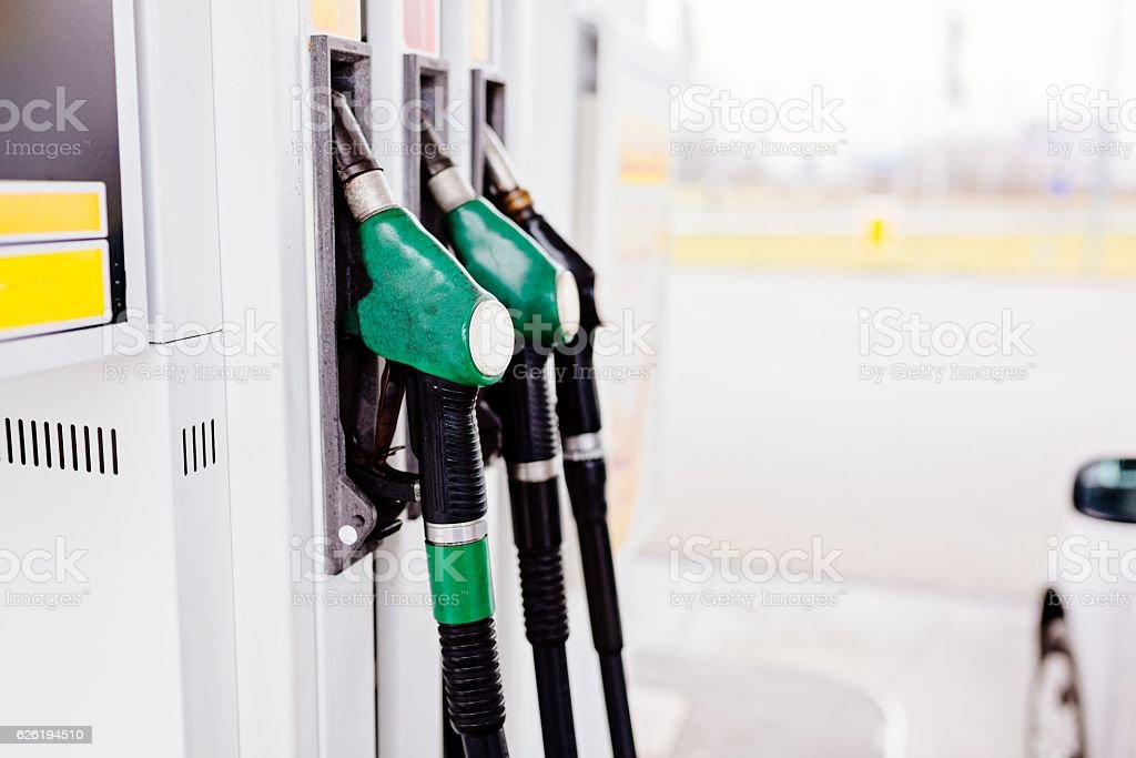 Gasoline and diesel distributor stock photo