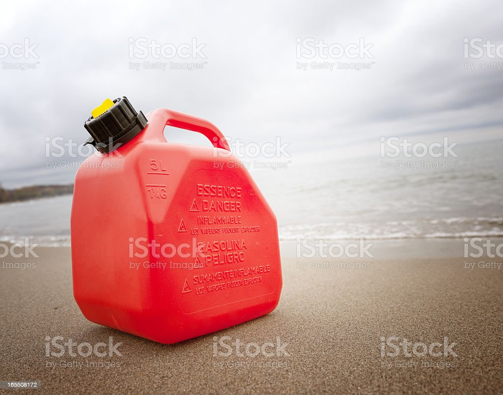 Gasoline Can, Beach, Oil Industry Concept stock photo