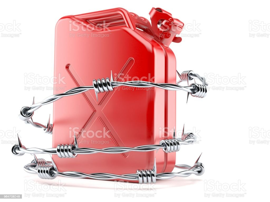 Gasoline canister with barbed wire royalty-free stock photo