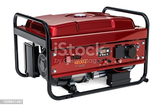 Gasoline Generator, 3D rendering isolated on white background