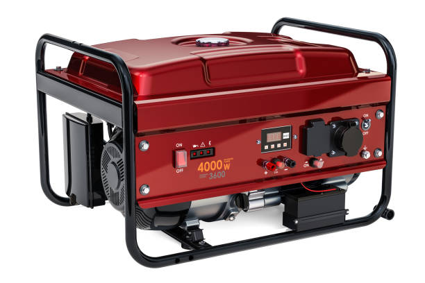 generador de gasolina, aislado en fondo blanco de procesamiento 3d - generadores fotografías e imágenes de stock