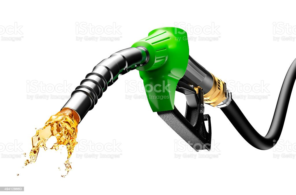Gasoline Gushing Out From Pump stock photo